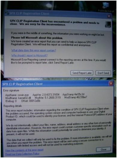 """CAN CLIP erreur de lecture """"SPX CLIP Client d'enregistrement"""""""
