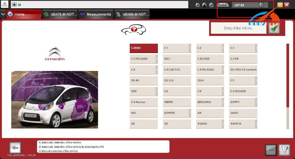 DiagBox V7.83 car list